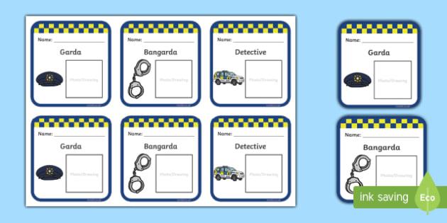 Garda Badges - garda, police force, ireland, republic of ireland, badges, role play, police station, garda station, detective, role play area