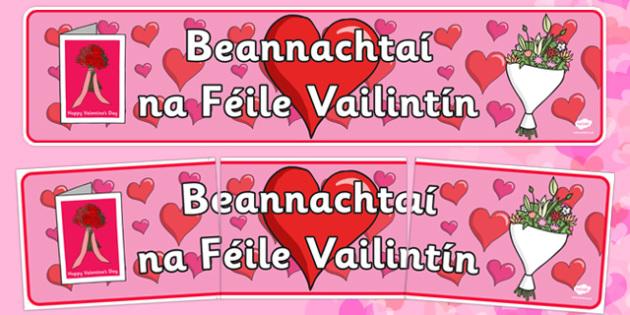 Beannachtaí na Féile Vailintín Banner Gaeilge - Valentine's Day, display, banner, Gaeilge, Irish