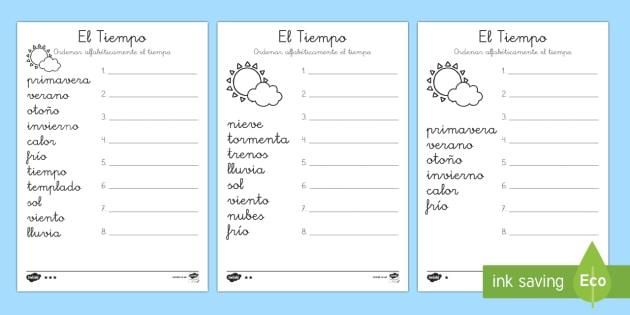 Ordenar vocabulario: El tiempo - El tiempo y las estaciones del año, proyecto, alfabeticamente, abecedario, orden, Spanish