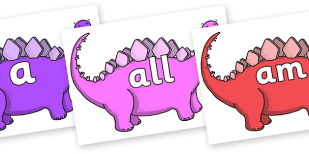 Foundation Stage 2 Keywords on Stegosaurus - FS2, CLL, keywords, Communication language and literacy,  Display, Key words, high frequency words, foundation stage literacy, DfES Letters and Sounds, Letters and Sounds, spelling