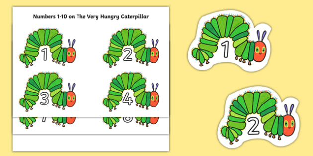 Numbers 1-10 to Support Teaching on The Very Hungry Caterpillar - EYFS, planning, Eric Carle, caterpillar, butterfly, lifecycle, counting, numbers to 6, fruit