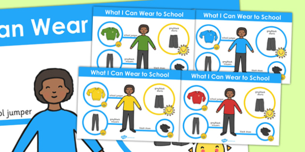 What I Can Wear to School Boys Poster - school, boys, poster