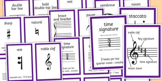 Musical Notation Cards - musical, notation, cards, music, note