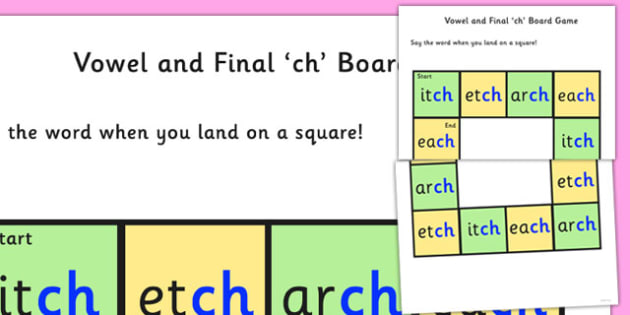Vowel and Final 'Ch' Sound Board Game - ch sound, board game