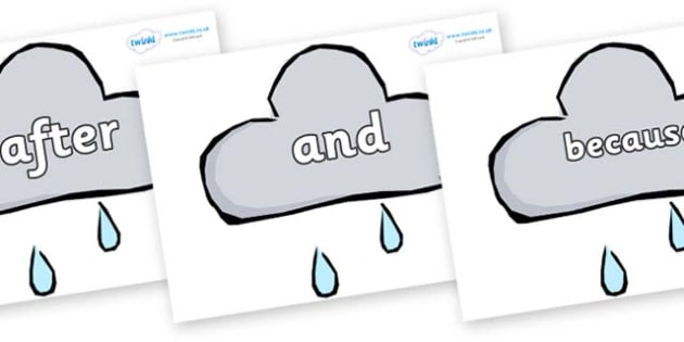 Connectives on Weather Symbols (Rain) - Connectives, VCOP, connective resources, connectives display words, connective displays