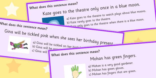Colour Idioms Multiple Choice Cards - choices, colours, multiples