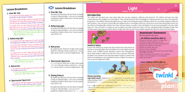 PlanIt - Science Year 6 - Light Planning Overview CfE - planit, science, year 6, light, planning, overview, cfe