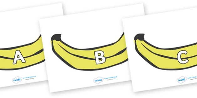 A-Z Alphabet on Bananas - A-Z, A4, display, Alphabet frieze, Display letters, Letter posters, A-Z letters, Alphabet flashcards