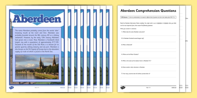Aberdeen Comprehension Activity - CfE, Social Studies, Towns and Cities, Scottish Cities, Aberdeen