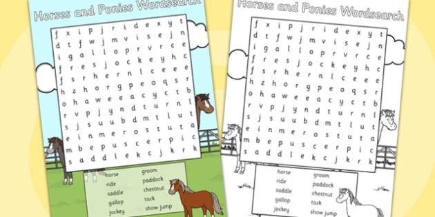 Horses and Ponies Wordsearch - horses, ponies, wordsearch, word
