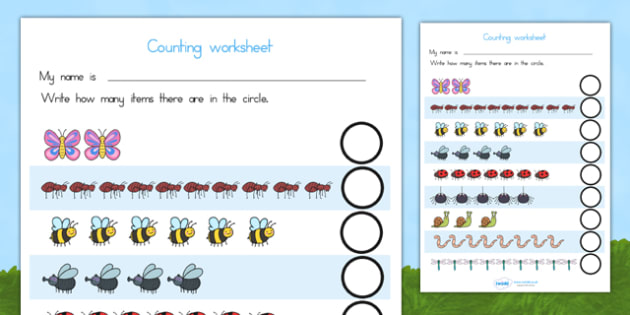 My Counting Worksheets Minibeasts - counting, minibeasts, maths