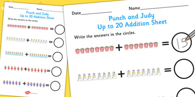 Punch and Judy Up to 20 Addition Sheet - addition, maths, numbers