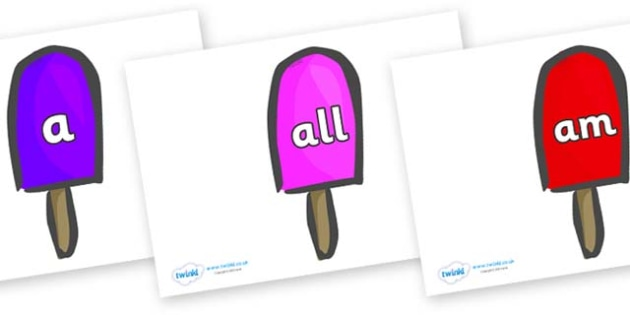 Foundation Stage 2 Keywords on Ice Lollies - FS2, CLL, keywords, Communication language and literacy,  Display, Key words, high frequency words, foundation stage literacy, DfES Letters and Sounds, Letters and Sounds, spelling