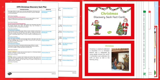 EYFS Christmas Discovery Sack Plan and Resource Pack - christmas, discovery sack, discovery, sack
