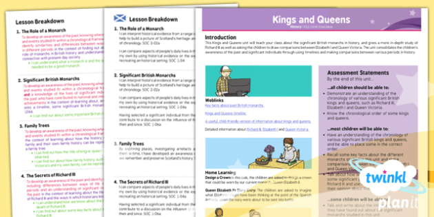 Planit - History KS1 - Kings and Queens Planning Overview CfE - Curriculum for excellence, Scottish, history, royalty, monarchs, KS1, key stage 1, topic, planning, unit