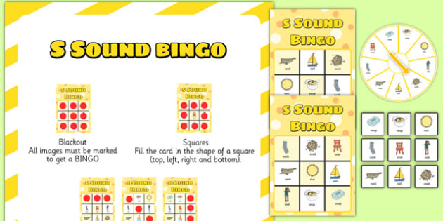 s Sound Bingo Game with Spinner - sounds, sound games, bingo, s sound