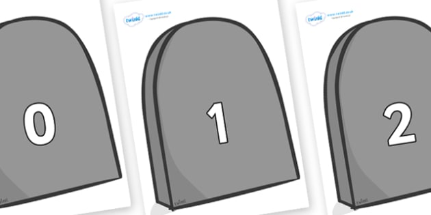 Numbers 0-31 on Grave Stones - 0-31, foundation stage numeracy, Number recognition, Number flashcards, counting, number frieze, Display numbers, number posters