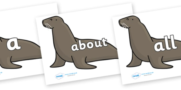 100 High Frequency Words on Sealions - High frequency words, hfw, DfES Letters and Sounds, Letters and Sounds, display words