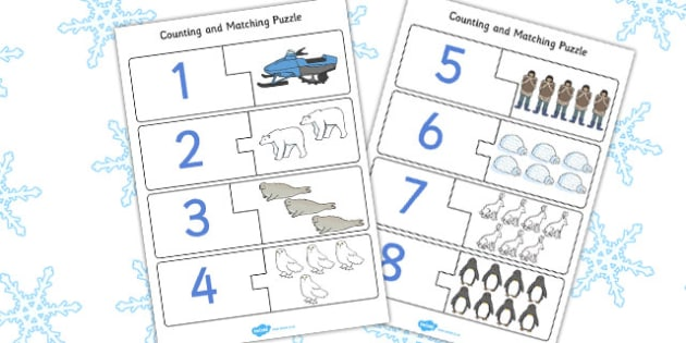 Polar Regions Counting Puzzle - polar, counting, puzzle, activity