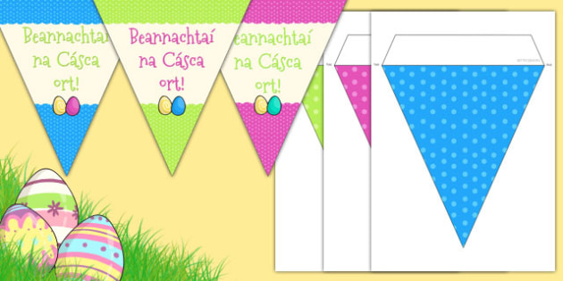 Easter Party Happy Easter Bunting Gaeilge - gaeilge, easter, easter party, bunting