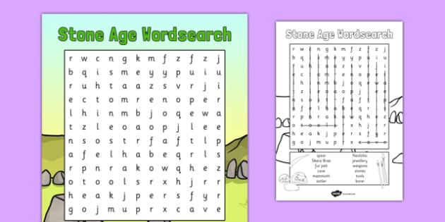 Stone Age Wordsearch - stone age, wordsearch, word, search, stone