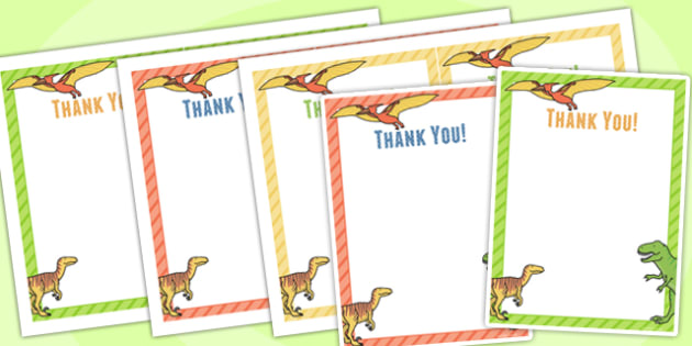 Dinosaur Themed Birthday Party Thank You Cards - dinosaur, party