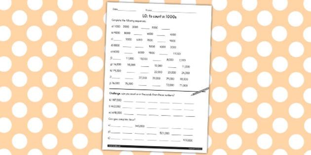 Counting in 1000 Worksheet - counting, 1000, worksheet, sheet