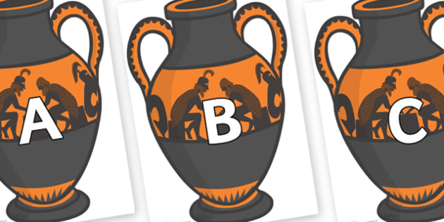 A-Z Alphabet on Amphora - A-Z, A4, display, Alphabet frieze, Display letters, Letter posters, A-Z letters, Alphabet flashcards