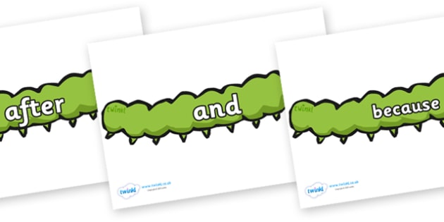 Connectives on Caterpillars - Connectives, VCOP, connective resources, connectives display words, connective displays