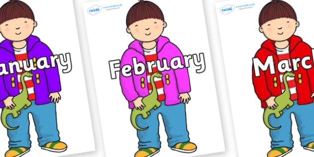 Months of the Year on Harry to Support Teaching on Harry and the Bucketful of Dinosaurs - Months of the Year, Months poster, Months display, display, poster, frieze, Months, month, January, February, March, April, May, June, July, August, September