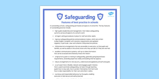 Safeguarding Features of Best Practice in Schools Poster - safeguarding, features, best, practice, schools
