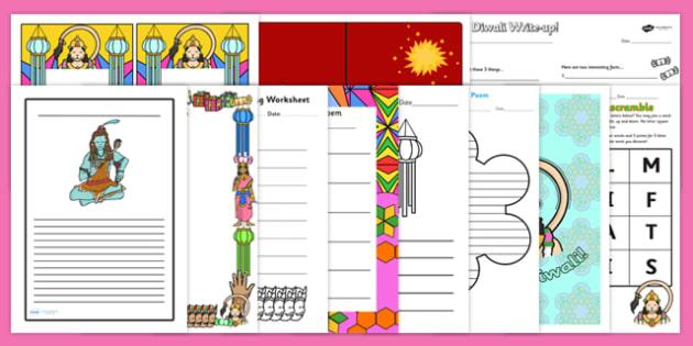 Diwali Themed Writing Pack - writing pack, theme, topic, Diwali