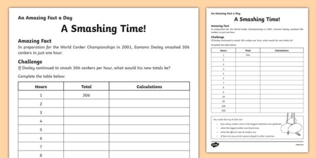 A Smashing Time Activity Sheet, worksheet