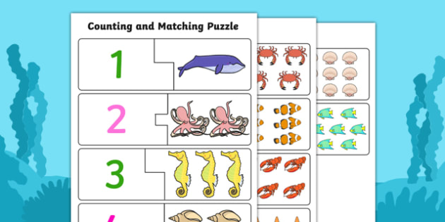 Under The Sea Themed Counting Matching Puzzle - count, match