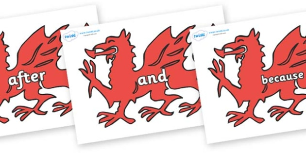Connectives on Welsh Dragons - Connectives, VCOP, connective resources, connectives display words, connective displays