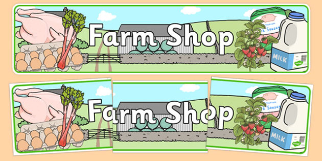 Farm Shop Role Play Display Banner  - Farm Shop Role Play, banner, farm shop resources, farm, milk, cheese, eggs, till, animals, meat, cheese, living things, butcher, role play, display, poster