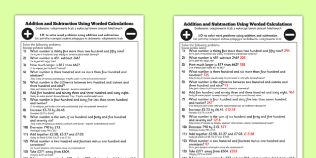 Addition and Subtraction Using Worded Calculations Year 3 Polish Translation - polish, addition, subtraction