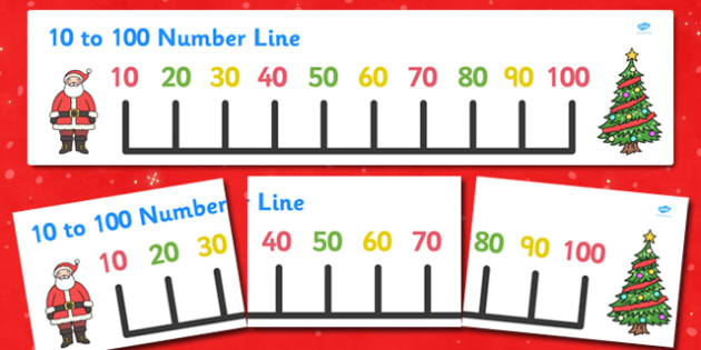Christmas Number Line Banner (10-100) - Christmas, xmas, Maths, Math, numberline, numberline display, tree, advent, nativity, santa, father christmas, Jesus, tree, stocking, present, activity, cracker, angel, snowman, advent , bauble, display, poster