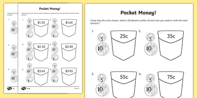 Pocket Money Activity Sheet - Year 2 Maths Mastery, Place Value, position, value, digit, number, amount, units, ones, tens, hundreds, 1c, 10c, dollars note, pence, pound, reason, justify, problem, solve, total, money, worksheet
