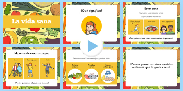 Presentación de la vida sana - salud, limpieza, personal, comer bien, prevención enfermedad, vivir, vida