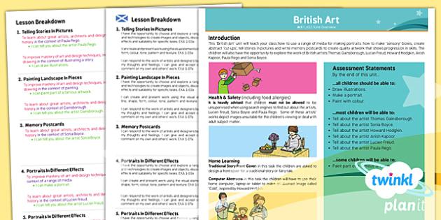 PlanIt - Art LKS2 - British Art Planning Overview CfE - Art, art and design, UK, Britain, KS2, year 3, year 4