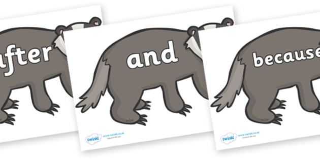 Connectives on Badgers - Connectives, VCOP, connective resources, connectives display words, connective displays