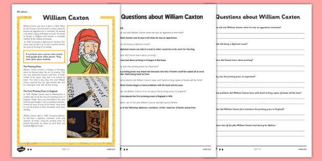 William Caxton Differentiated Reading Comprehension Activity