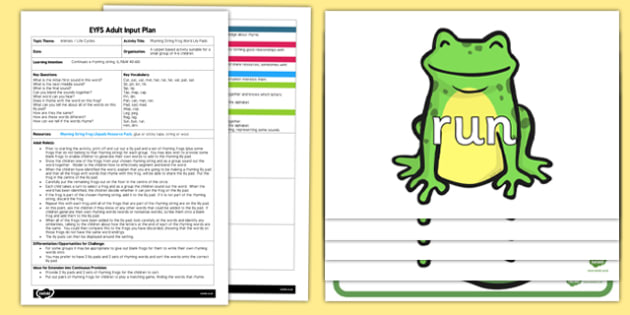 Rhyming String Frog Lily Pads Resource Pack - rhyming string, frog, lilypads, pack, rhyme, phase 1, sounds,