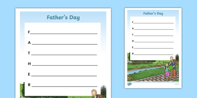 Father's Day Father Acrostic Poem - fathers day, father, acrostic poem, acrostic, poem