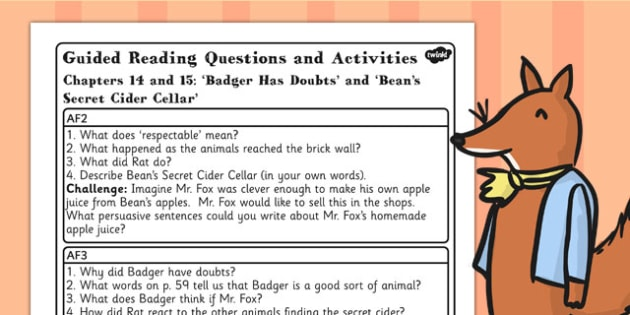 Fantastic Mr Fox Guided Reading Questions Chapters 14 and 15