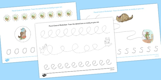 The Story of Miss Moppet Pencil Control Sheets - miss moppet, pencil control, pencil, control, beatrix potter