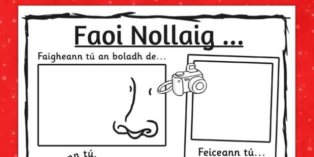 Irish Faoi Nollaig Sensory Writing Frame - roi, irish, gaeilge, senses, Christmas experiences, writing, drawing, see, hear, say, smell