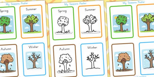 My Seasons Poster - seasons, weather, display, months, years, day