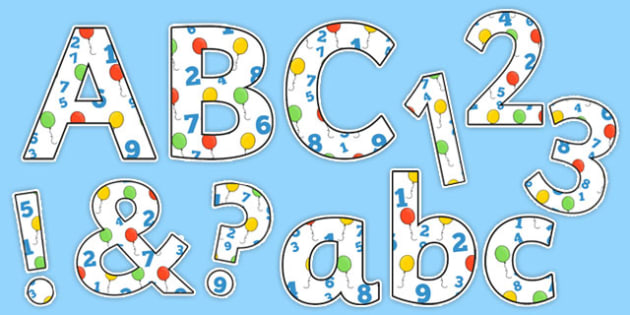 Balloon and Number Display Lettering - balloon, number, display, lettering